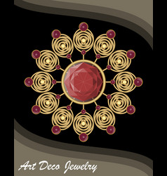 Golden antiquarian jewel in art deco style vector