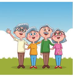 Grandparent couple cartoons vector
