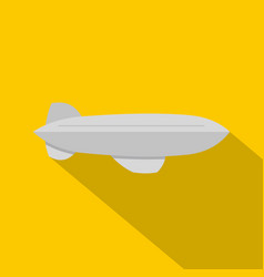 Gray blimp aircraft flying icon flat style vector