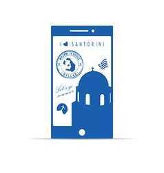 Greek island santorini on mobile phone in blue vector