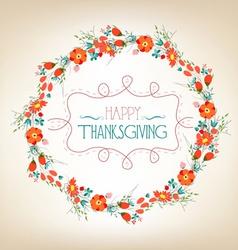 Happy Thanksgiving florals wreath Colors Textures vector