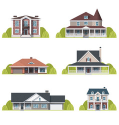 Houses set suburban american houses exterior flat vector
