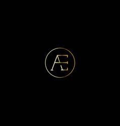 initial ae logo design circle elegant log vector image