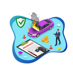 Isometric car insurance services auto insurance vector