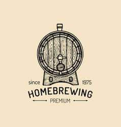 kraft beer barrel logo old brewery icon hand vector image vector image