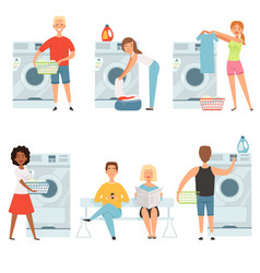 laundry service characters washing house vector image
