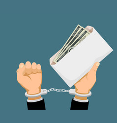 Man in handcuffs holds an envelope with dollar vector