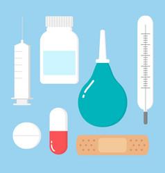 Medicine pharmacy hospital set drugs with vector