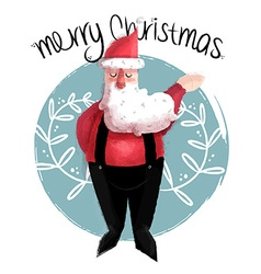 Merry christmas of cute santa claus vector image