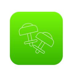 Modern earrings icon green vector