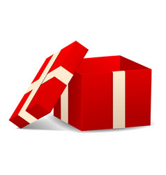 open red gift box icon realistic style vector image