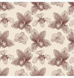 Orchid engraving seamless pattern vector