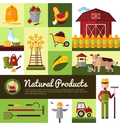 Organic Farm Products Flat Design vector