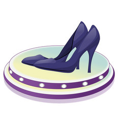 Pair of dark blue shoes with high heels vector