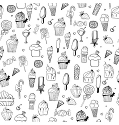 pattern of ice-creams and cupcake vector image