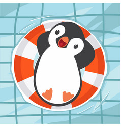 penguin swimming at the pool vector image