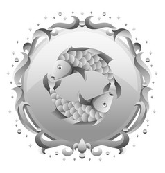 pisces zodiac sign with silver frame horoscope vector image