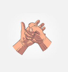 realistic hands - gestures hand painted fist on vector image