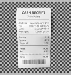 Realistic shop receipt paper payment bill vector