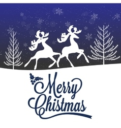 Reindeer Silhouette Merry Christmas Poster vector image