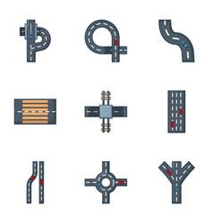 Roadside icons set cartoon style vector
