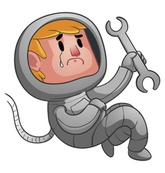 Sad Astronaut Holding a Wrench vector