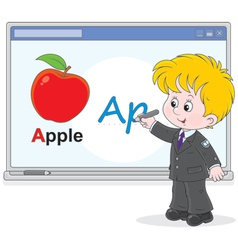 Schoolboy at interactive whiteboard vector