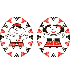 Scottish man and woman in ethnic costume vector image