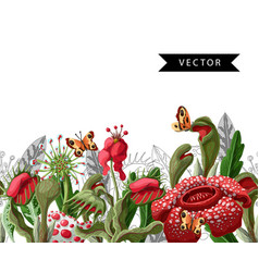 Seamless border with plant predators flowers vector
