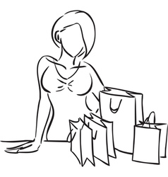 Series Shopping Woman and purchases on a table vector