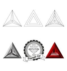 Set triangle cut jewel views vector