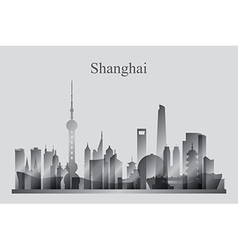 Shanghai city skyline silhouette in grayscale vector