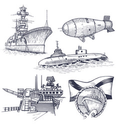 Ship with nuclear rocket vector