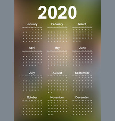 simple calendar 2020 year vector image