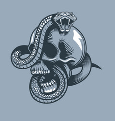 Snake enveloped skull with open mouth tattoo vector