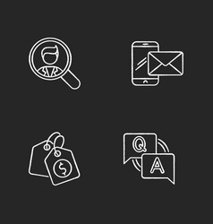 social media recruitment chalk white icons set vector image
