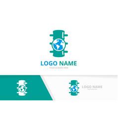 Spine and globe logo combination unique vector