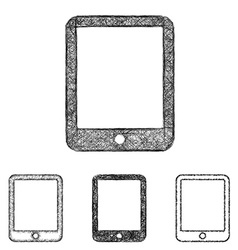 Tablet icon set - sketch line art vector image
