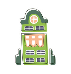 tall green building with big windows cute fairy vector image