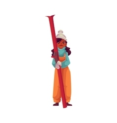 Teen-aged black girl holding ski vector