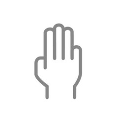 Three fingers up line icon oath victory gesture vector