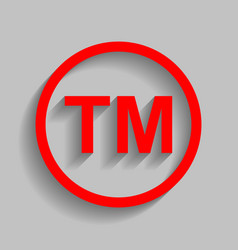 Trade mark sign red icon with soft shadow vector