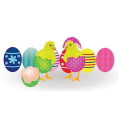 two chickens coming from easter eggs vector image