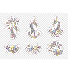 Unicorn rainbow pattern - girls stickers vector