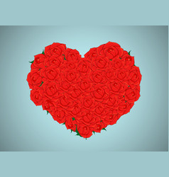 valentine with a bouquet of red roses in heart vector image