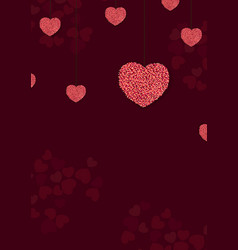 valentines day background with red and rose hearts vector image