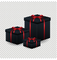 various black gift box with red ribbon and bow ov vector image