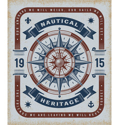 Vintage nautical heritage typography vector
