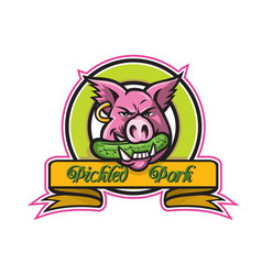 Wild hog biting pickle circle mascot vector