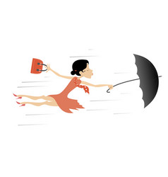 Windy day and young woman with umbrella isolated vector